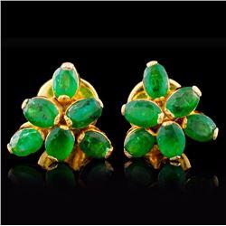 18K Yellow Gold 3.00ctw Emerald Earrings