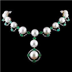 18K White Gold 12-15mm & 1.11ct Diamond Necklace