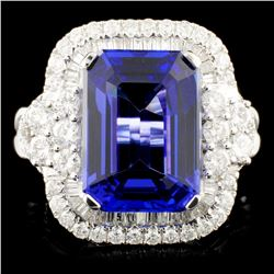 18K Gold 8.12ct Tanzanite & 1.58ctw Diamond Ring
