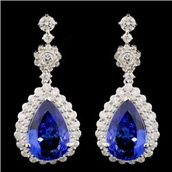 18K Gold 7.97ctw Tanzanite & 2.27ctw Diamond Earri