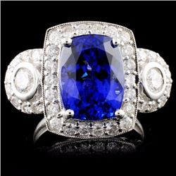 14K White Gold 7.20ct Tanzanite & 1.49ctw Diamond