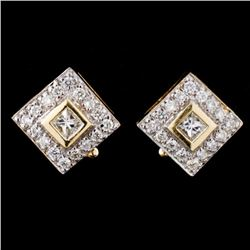 14K Yellow Gold 0.80ctw Diamond Earrings