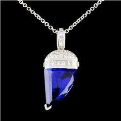 18K Gold 8.39ct Tanzanite & 0.84ctw Diamond Pendan