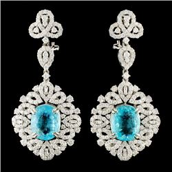 18K Gold 8.40ct Paraiba & 4.52ctw Diamond Earrings