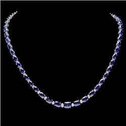 `14k Gold 30ct Sapphire 1.10ct Diamond Necklace