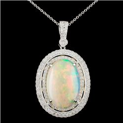 18K Gold 7.94ct Opal & 1.18ctw Diamond Pendant