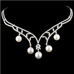 14K Gold 10-12MM Pearl & 2.41ctw Diamond Necklace