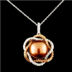 14K Gold 11.50MM Pearl & 1.14ctw Fancy Color Diamo
