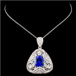 18K White Gold 4.13ct Tanzanite & 1.35ct Diamond P