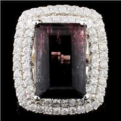 14K Gold 10.74ct Tourmaline & 2.04ctw Diamond Ring