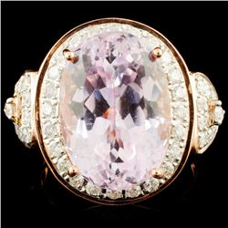 14K Gold 11.33ct Kunzite & 0.71ctw Diamond Ring