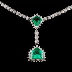 18K White Gold 1.93ct Emerald & 5.09ct Diamond Nec