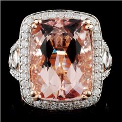 14K Rose Gold 12.25ct Morganite & 1.56ct Diamond R