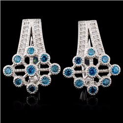 14K White Gold 0.71ctw Fancy Color Diamond Earring