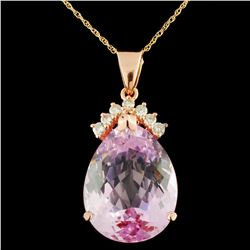 14K Gold 25.50ct Kunzite & 0.40ctw Diamond Pendant