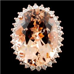 14K Gold 17.86ct Morganite & 0.94ctw Diamond Ring