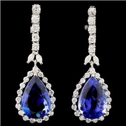 18K Gold 14.24ctw Tanzanite & 1.94ctw Diamond Earr