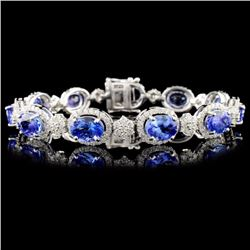 14K Gold 14.59ctw Tanzanite & 3.65ctw Diamond Brac