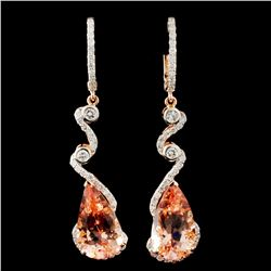 14K Gold 14.80ct Morganite & 1.75ctw Diamond Earri