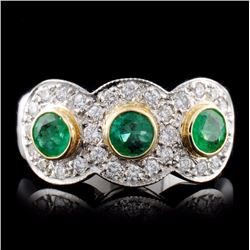 14K White Gold 0.73ct Emerald & 0.67ct Diamond Rin