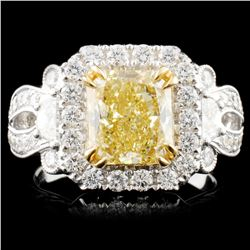 *GIA 18K Gold 3.39ctw Fancy Diamond Ring