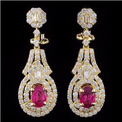 18K Gold 1.91ctw Ruby & 2.52ctw Diamond Earrings