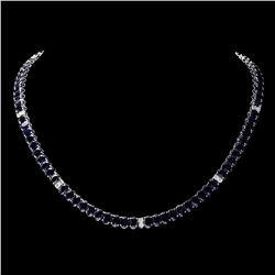 `14k Gold 53ct Sapphire 1.20ct Diamond Necklace