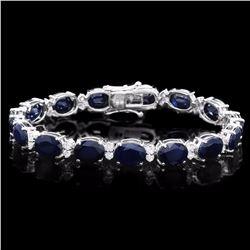 `14k Gold 36ct Sapphire 1.55ct Diamond Bracelet