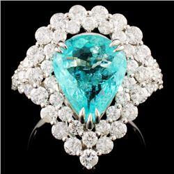 18K Gold 3.16ct Paraiba & 2.25 Diamond Earrings