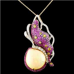 18K Gold 23.64ct Opal & 1.55ctw Diamond Pendant