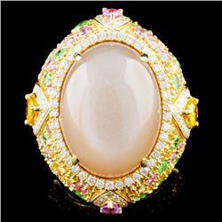 18K Gold 22.30ct Moonstone & 0.79ctw Diamond Ring