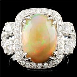 14K Gold 3.18ct Opal & 1.08ctw Diamond Ring