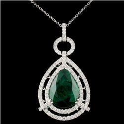 18K Gold 10.81ct Emerald & 2.18ctw Diamond Pendant