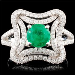 14K Gold 0.90ct Emerald & 0.60ctw Diamond Ring