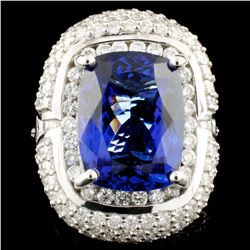 18K Gold 10.92ct Tanzanite & 3.76ctw Diamond Ring