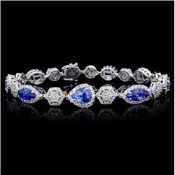 18K Gold 10.95ct Sapphire & 3.23ct Diamond Bracele