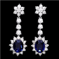 `14k Gold 3ct Sapphire 3.25ct Diamond Earrings
