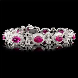 18K Gold 10.70ct Ruby & 1.74ct Diamond Bracelet