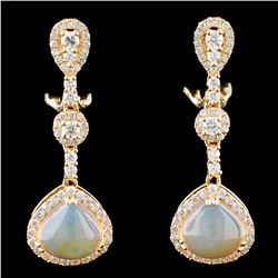 14K Gold 3.30ctw Opal & 1.20ctw Diamond Earrings
