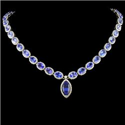 14K Gold 38.99ctw Tanzanite & 7.74ctw Diamond Neck