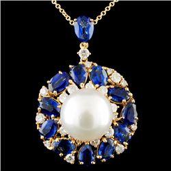 18K Gold 13.00MM Pearl & 1.08ctw Diamond Pendant