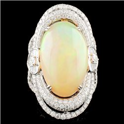 18K Gold 14.30ct Opal & 3.02ctw Diamond Ring
