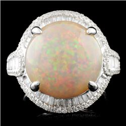 18K Gold 11.60ct Opal & 0.78ctw Diamond Ring