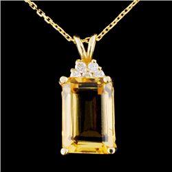 14K Gold 7.10ct Citrine & 0.17ctw Diamond Pendant