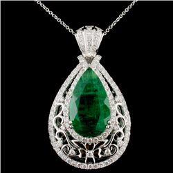 18K Gold 13.56ct Emerald & 2.39ctw Diamond Pendant