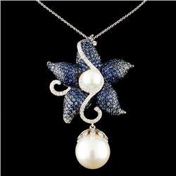 18K Gold 14MM Pearl & 0.69ctw Diamond Pendant