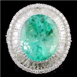 18K Gold 25.70ct Emerald & 6.94ctw Diamond Ring