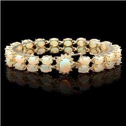 `14k Gold 14.1ct Opal 0.50ct Diamond Bracelet