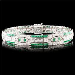 18K Gold 3.40ct Emerald & 2.04ctw Diamond Bracelet
