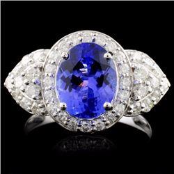 18K Gold 2.53ct Tanzanite & 0.90ctw Diamond Ring